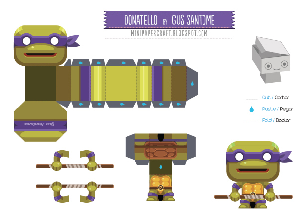 Blog Paper Toy papertoy Donatello template preview Mini Donatello de Gus Santome