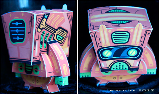 Blog Paper Toy papertoy Toilbot pic3 Tangerine Toil Bot de Chemical 9