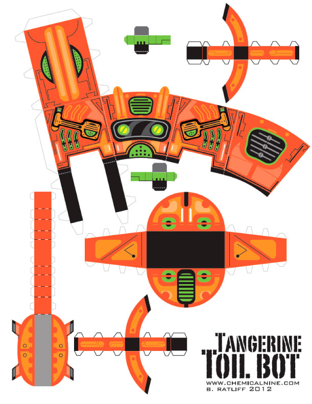 Blog Paper Toy papertoy Toilbot template preview Tangerine Toil Bot de Chemical 9