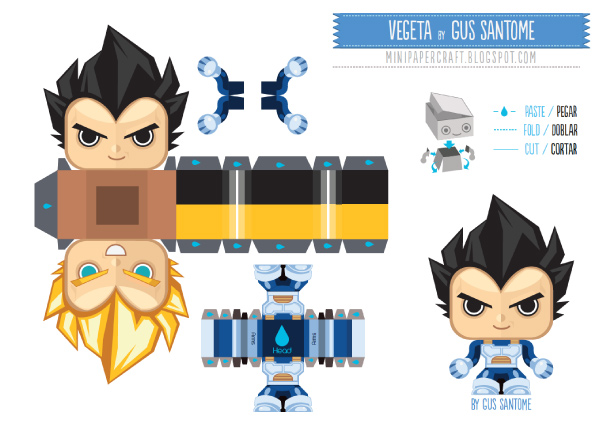Blog Paper Toy papertoy Vegeta template preview Mini Vegeta (double face) de Gus Santome
