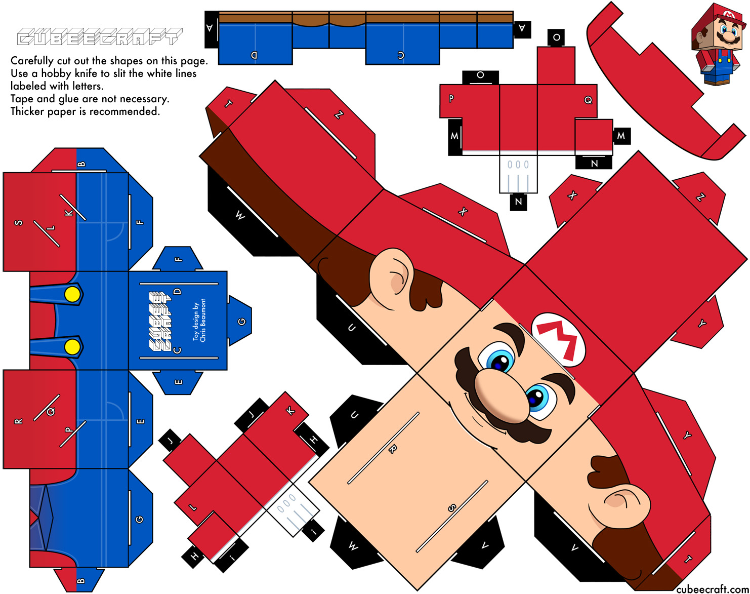 Papertoys Mario De Cubeecraft X2 Paper Toy
