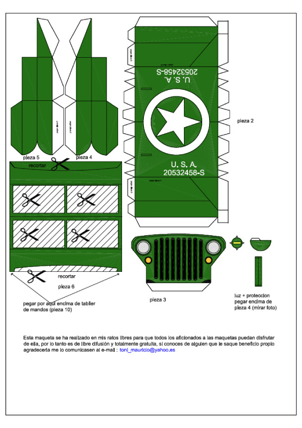 Blog Paper Toy papercraft Jeep template preview Jeep Willys en papercraft