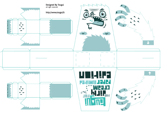 Blog Paper Toy papertoy Barry Yeti template preview Barry : The little Yeti by Tougui