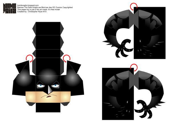 Blog Paper Toy papertoy Batman  DK template preview Batman papertoy   The Dark Knight