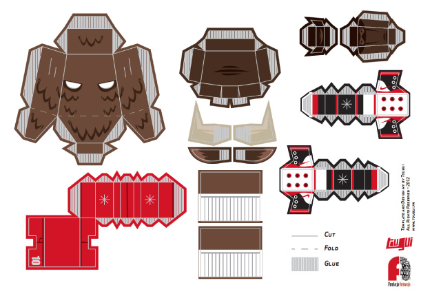 Blog Paper Toy papertoy ETNO2012 template preview Bison Soccer Player de TOUGUI