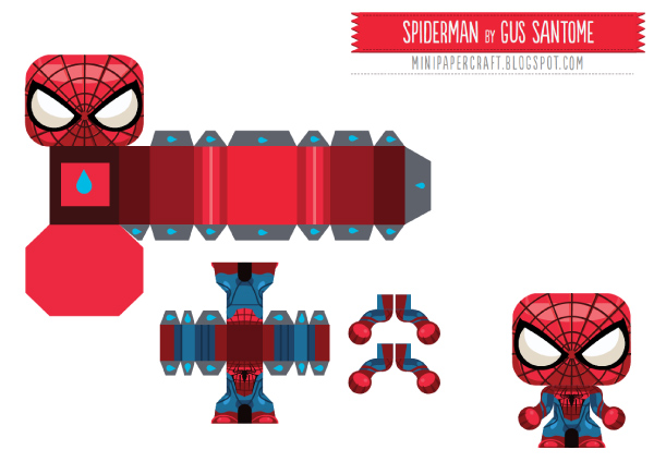 Blog Paper Toy papertoy Mini Spider Man template preview Mini Spider Man en papercraft
