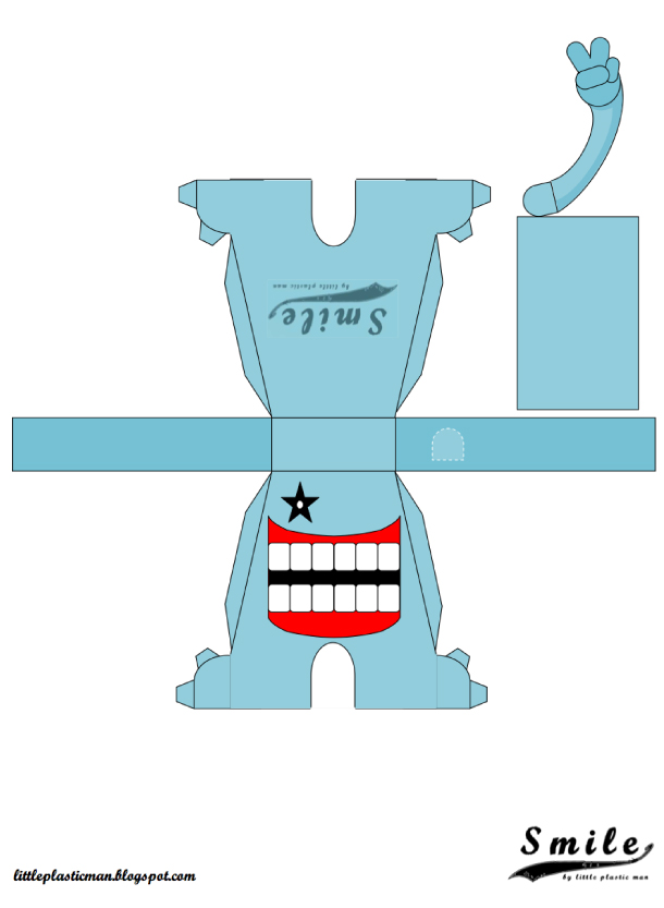 Blog Paper Toy papertoys SMILE template preview blue Papertoys SMILE de Little Plastic Man (x 4)