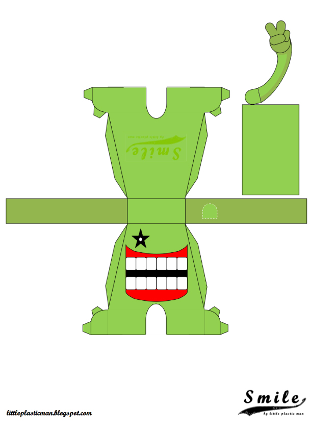 Blog Paper Toy papertoys SMILE template preview green Papertoys SMILE de Little Plastic Man (x 4)