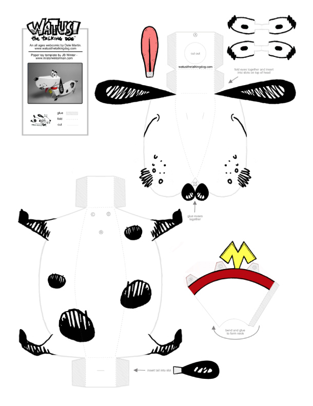 Blog Paper Toy papertoy Watusi template preview Papertoy Watusi the Talking Dog
