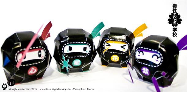 Blog Paper Toy papertoys Dokusei ninja pic5 Papertoys Dokusei ninja gakkou (x 4)
