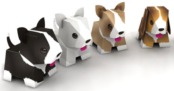 puppies papertoys de julius perdana paper. Black Bedroom Furniture Sets. Home Design Ideas