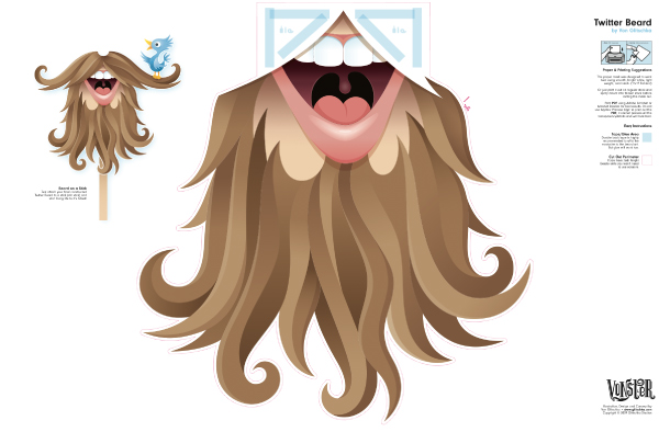 Blog Paper Toy paper mask twitter beard template preview Twitter Beard by @vonster