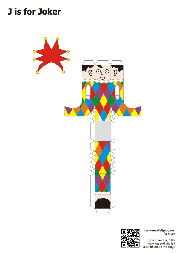 Blog Paper Toy papercraft Alphabet J Joker template preview Alphabet en papercraft (x 26)