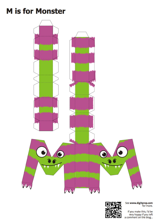 Blog Paper Toy papercraft Alphabet M Monster template preview Alphabet en papercraft (x 26)