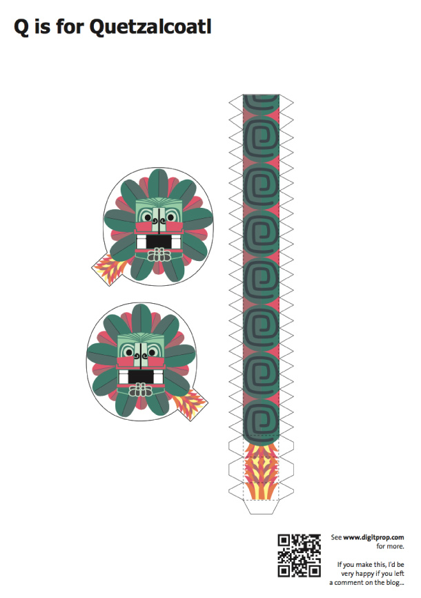 Blog Paper Toy papercraft Alphabet Q Quetzalcoatl template preview Alphabet en papercraft (x 26)