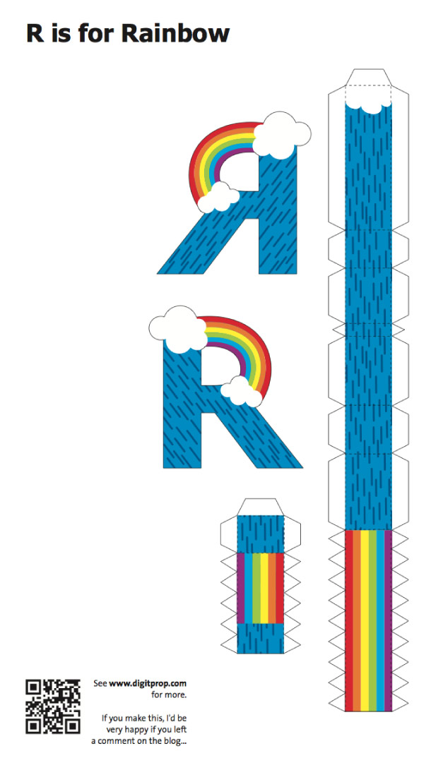Blog Paper Toy papercraft Alphabet R Rainbow template preview Alphabet en papercraft (x 26)