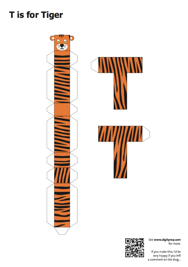Blog Paper Toy papercraft Alphabet T Tiger template preview Alphabet en papercraft (x 26)