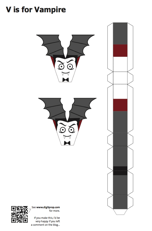 Blog Paper Toy papercraft Alphabet V Vampire template preview Alphabet en papercraft (x 26)