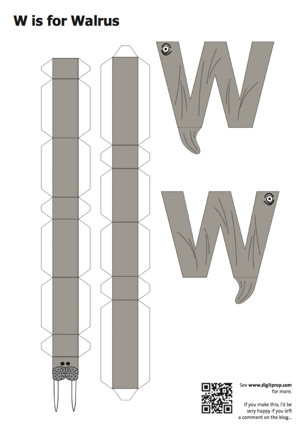 Blog Paper Toy papercraft Alphabet W Walrus template preview Alphabet en papercraft (x 26)