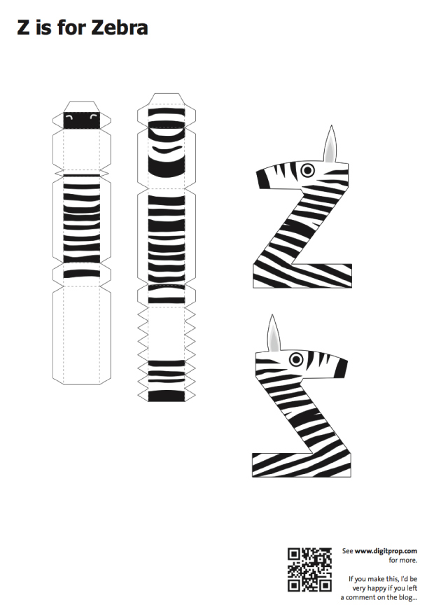 Blog Paper Toy papercraft Alphabet Z Zebra template preview Alphabet en papercraft (x 26)