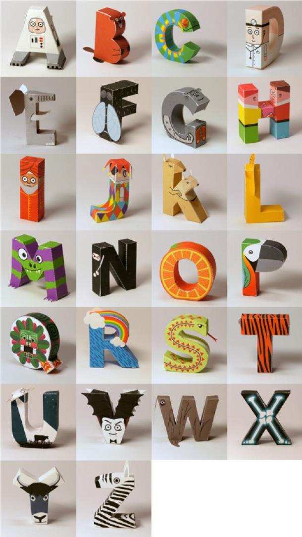 Blog Paper Toy papercraft Alphabet pic4 Alphabet en papercraft (x 26)