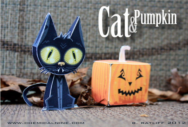 Blog Paper Toy papertoys Cat Pumpkin pic Cat and Pumpkin paper toys (x 2)