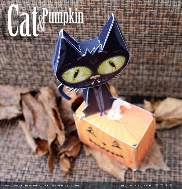 Blog Paper Toy papertoys Cat Pumpkin pic2 Cat and Pumpkin paper toys (x 2)
