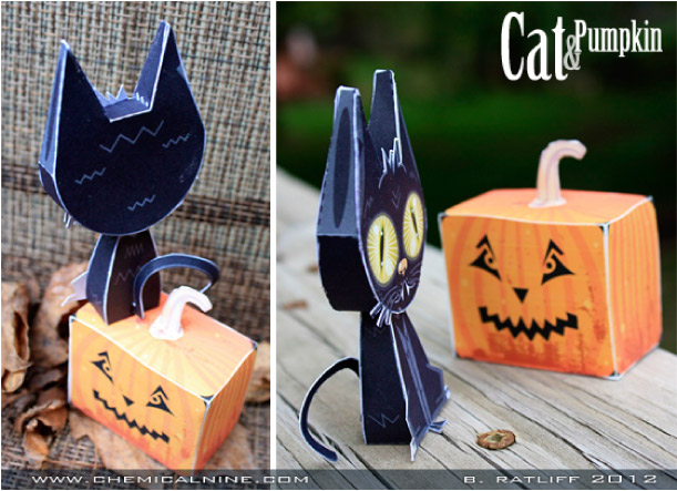 Blog Paper Toy papertoys Cat Pumpkin pic3 Cat and Pumpkin paper toys (x 2)