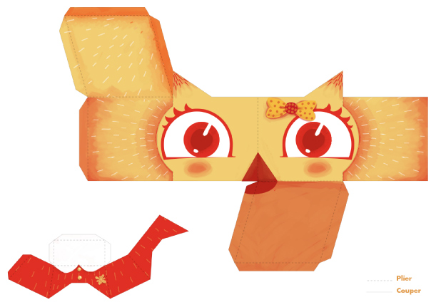 Blog Paper Toy papertoys Chouettes VVF fille template preview Chouettes VVF en papertoys (x 4)