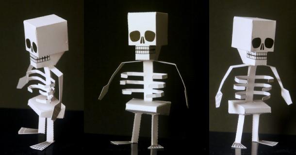 Как сделать в бумаги скелет руками 656