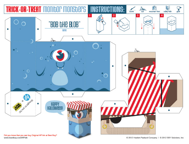 Blog Paper Toy papertoys TrickOrTreat Bob template preview Trick or Treat Monsters papertoys (x 3)