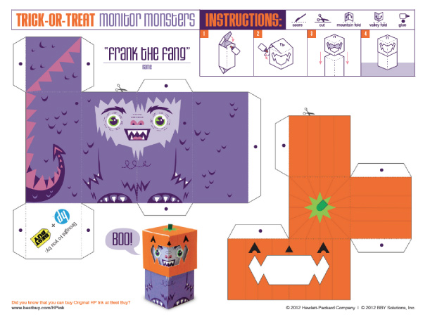Blog Paper Toy papertoys TrickOrTreat Frank template preview Trick or Treat Monsters papertoys (x 3)