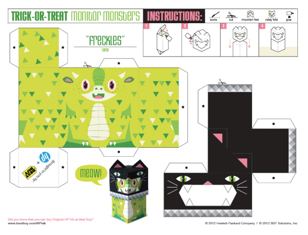 Blog Paper Toy papertoys TrickOrTreat Freckles template preview Trick or Treat Monsters papertoys (x 3)