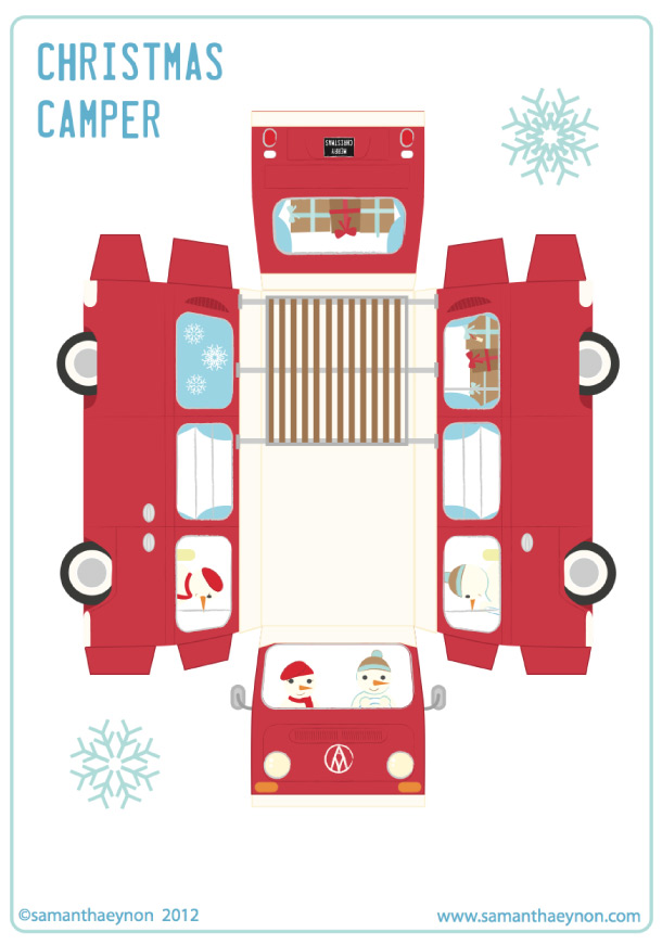 ... Paper Toy papertoy Christmas Camper template preview Christmas