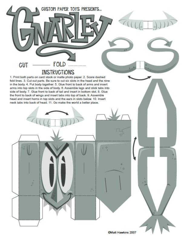 Blog Paper Toy papertoy Gnarley template preview Gnarley papertoy by Matt Hawkins