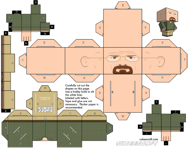 Blog Paper Toy papertoys Breaking Bad WalterWhite template preview Cubeecraft Breaking Bad (x 2)