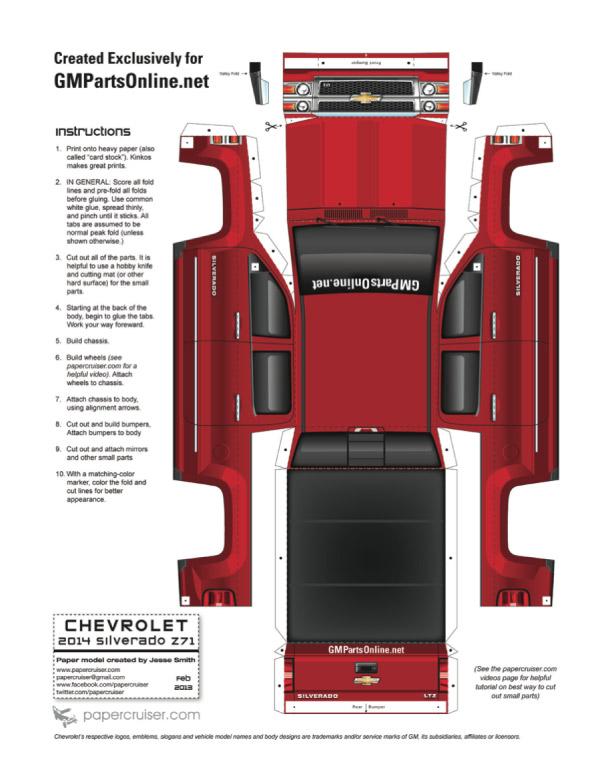 ... Silverado Paper Model - Paper Car Cut Out Download the paper car