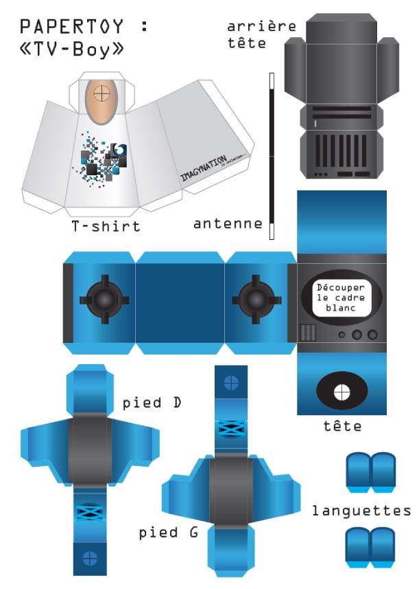Boy Toys Template : Tv boy de imagynation paper toy