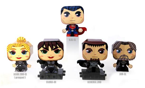 Papercraft imprimible y recortable de cinco personajes de la película Superman. Manualidades a Raudales.