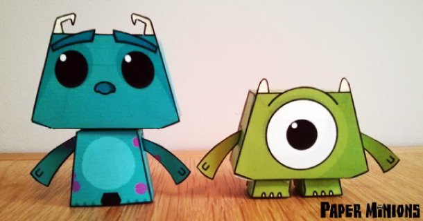 Blog_Paper_Toy_papertoys_Sully_Mike_Paper_Minions