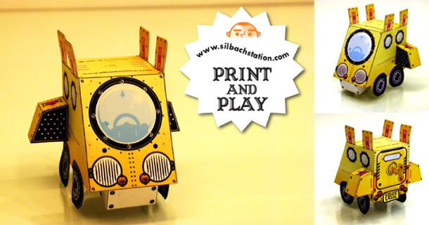 Paper toy Buck Tooth Car