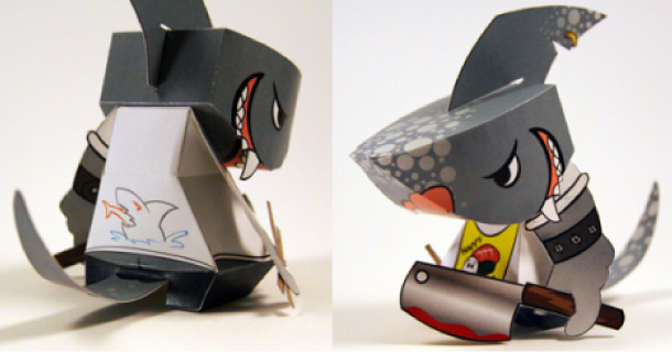 Paper toy Sushi Shark