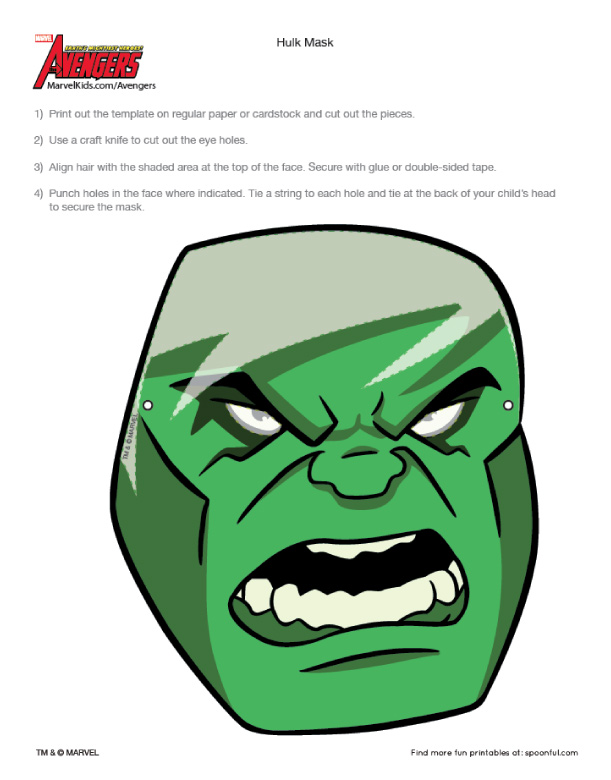 Blog Paper Toy Avengers Masks Hulk Template Preview Paper Toy